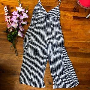 Stripped white and blue jumpsuit